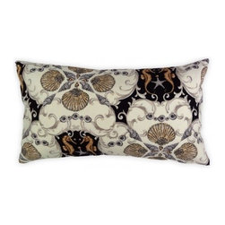 5 Surry Lane - Black Seashell Seahorse Indoor Outdoor Lumbar Pillow - Bring this charming pillow home to create a seaside style in chic shades of black and taupe. With pairs of seahorses, shells and a scallop motif, all you'll need to complete the look is a little bit of sand and an ocean breeze.