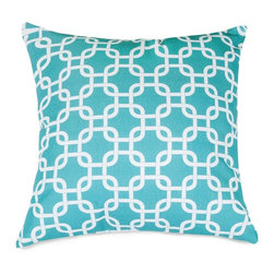 Majestic Home Goods - Teal Links Large Pillow - Add a splash of color and a little texture to any environment with these great indoor/outdoor plush pillows by Majestic Home Goods. The Majestic Home Goods teal links large pillow will add additional comfort to your living room sofa or your outdoor patio. Whether you are using them as decor throw pillows or simply for support, Majestic Home Goods large pillows are the perfect addition to your home. These throw pillows are woven from outdoor treated polyester with up to 1000 hours of U.V. protection, and filled with super loft recycled polyester fiber fill for a comfortable but durable look. Spot clean only.