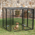 PetSafe - Dog Kennel: PetSafe Cottageview Dog Kennel - Shop for General Pet Supplies from Hayneedle.com! The PetSafe Cottageview Dog Kennel with FREE SunBlock Top features a sturdy handsome design that is ideal for use on decks and patios or out in the yard. This kennel includes four panels a left- or right-hand opening gate (determined during setup) and a SunBlock Top shade canopy. Ideal for temporary or semi-permanent installations this kennel sets up quickly and easily- less than an hour for one-person setup. Constructed from durable metal and finished with all-weather rust-resistant powder coating in classic black this kennel can be used with confidence indoors or out. Kennel expansion panels for larger dogs are available and sold separately. About PetSafePetSafe products provide convenience and freedom to pets and their owners alike. Headquartered in Knoxville Tenn. PetSafe introduced the first do-it-yourself electronic fence to the pet market in 1991 and has since become a global presence. PetSafe offers a wide array of training containment safety and lifestyle products. The human-animal bond has become increasingly important in today's society and PetSafe helps people become the responsible caring owners they want to be. PetSafe emphasizes ground-breaking research in its products to provide cutting-edge innovative solutions to your pet's needs. Employees love the products as well - the company headquarters boasts everything from a doggie spa to a kitty gym and President/CEO Randy Boyd uses many PetSafe products to keep his dog Spanky healthy and happy.