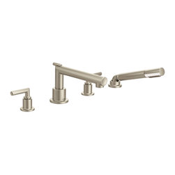Moen - Moen TS93004 Arris Two-Handle Diverter Roman Tub Faucet with Hand Shower - Moen TS93004 Arris Brushed Nickel two handle Diverter Roman Tub Faucet Includes Hand Shower. Arris Accessories offer sharp angles and tubular lines that dominate each piece in this modern collection, not just with style but with functional products also. This Brushed Nickel two handle Diverter Roman Tub Faucet brings the warm look of stainless to your bath, and completes the overall look and design of your bathroom. Addition features include LifeShine finish that assures the ultimate in durability and is guaranteed not to tarnish, corrode or flake off, and single function hand shower. Included is the Moen limited lifetime warranty
