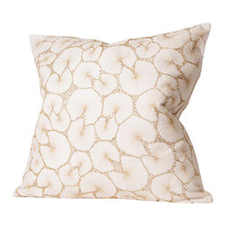 Studio A - Gricelda Pillow - Intricate gold metallic embroidery and beading on cotton shell. Two-sided detail. Down insert included.