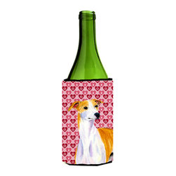 Caroline's Treasures - Whippet Hearts Love and Valentine's Day Portrait Wine Bottle Koozie Hugger - Whippet Hearts Love and Valentine's Day Portrait Wine Bottle Koozie Hugger Fits 750 ml. wine or other beverage bottles. Fits 24 oz. cans or pint bottles. Great collapsible koozie for large cans of beer, Energy Drinks or large Iced Tea beverages. Great to keep track of your beverage and add a bit of flair to a gathering. Wash the hugger in your washing machine. Design will not come off.