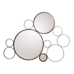 Arteriors Home - Arteriors Home Sheridan Silver Iron Mirror - Arteriors Home 6239 - Arteriors Home 6239 - Abstract wall mirror formed from connecting iron circles in a painted silver leaf finish and features a pair of glass mirror centers. Hang separately or hang with another.