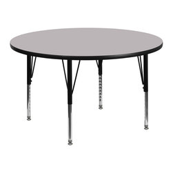 Flash Furniture - Flash Furniture 42 Inch Round Activity Table w/ Grey Thermal Fused Laminate Top - Flash Furniture's Pre-School XU-A42-RND-GY-T-P-GG warp resistant thermal fused laminate round activity table features a 1.125'' top and a thermal fused laminate work surface. This Round Laminate activity table provides a durable work surface that is versatile enough for everything from computers to projects or group lessons. Sturdy steel legs adjust from 16.125'' - 25.125'' high and have a brilliant chrome finish. The 1.125'' thick particle board top also incorporates a protective underside backing sheet to prevent moisture absorption and warping. T-mold edge banding provides a durable and attractive edging enhancement that is certain to withstand the rigors of any classroom environment. Glides prevent wobbling and will keep your work surface level. This model is featured in a beautiful Grey finish that will enhance the beauty of any school setting. [XU-A42-RND-GY-T-P-GG]