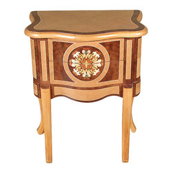MBW Furniture - Natural/Walnut French Provincial Accent Side Table - This product is finely constructed from top grade kiln-dried Solid Mahogany. Artisans use the old world method of tongue and groove and mortise and tenon joinery to create this beautiful and durable piece of furniture. Its superb hand-crafted quality will add a touch of elegance to your home.