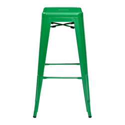 Crosley - Amelia Metal Café Bar Stools, Green, Set of 2 - Dimensions: 17 in. W x 17 in. D x 30 in. H