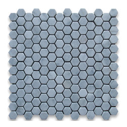 Stone Center Corp - Carrara Marble Hexagon Mosaic Tile 1 inch Tumbled - Premium Grade White Carrara Marble Hexagon Mosaic tiles. Italian Bianco Carrera White Venato Carrara Tumbled 1 inch Hex Mosaic Wall & Floor Tiles are perfect for any interior/exterior projects. The 1 inch Carrara White Marble Hexagon Mosaic tiles can be used for a kitchen backsplash, bathroom flooring, shower surround, countertop, dining room, entryway, corridor, balcony, spa, pool, fountain, etc.