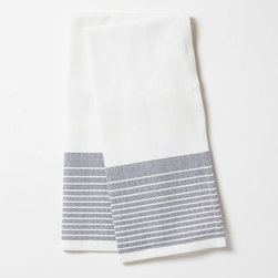 "Coyuchi - Coyuchi Diamond Stripe Mid Ocean Kitchen Towel Set of 2 - This Coyuchi kitchen towel set introduces eco-friendly sophistication to the modern interior. Across a white, diamond woven background, yarn-dyed, mid ocean blue stripes lend colorful allure. 16""W x 24""H; Set of two; 100% organic cotton; Due to handmade quality, slight variations in fabric may occur; Machine washable"