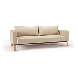 """Innovation USA - Innovation USA Cassius Sleek Sofa - Lacquered Oak - Dark Khaki - 55"""" x 91"""" - A highly comfortable, convertible lounge sofa in a relaxed elegant design that allows it to be free standing in the middle of a room. The Sleek styling is what defines the relaxed casual character."""