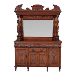 Antiques - Antique English Solid Oak Carved Buffet Sideboard Server w/ Mirror - Country of Origin: England