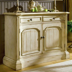 Hooker Furniture - Summerglen 51 in. Buffet - Two drawers. Two doors. Levelers. Shelf adjusts six slots at 2.5 in.. Made from hardwood solids and cherry veneers. Shelf: 22.5 in. L x 14 in. W. Shelf thickness: 0.75 in.. Doors: 21.5 in. W x 1.5 in. D x 23 in. H. Inside drawer: 19.69 in. W x 14.13 in. D x 3.37 in. H. Outside drawer: 21.37 in. W x 15.56 in. D x 4.88 in. H. Overall: 51 in. W x 18.75 in. D x 38.25 in. H