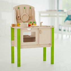 Hape My Creative Cookery Club - Your child can host a cooking party in the playroom with this ultimate kitchen set. My Creative Cookery Club features an oven a range top utensil rack sink and combination fridge or cupboard. Because the shelves open on both sides of the unit your children can play on either side and still participate in the activity. This set comes with a variety of food items including pizza eggs and sliceable vegetables and bread held together with Velcro tabs. Turning knobs a see-though oven door and bright colors will attract your child to this set for hours of creative play. All pots pans food and utensils have smooth rounded edges to keep your children safe while playing. Recommended ages 3-6 years. Overall dimensions: 21L x 11.75W x 31.25H inches. About EducoSince 1983 Educo toys have earned international distinction for durability quality craftsmanship educational value and innovative design. Widely known for their bead-and-wire mazes Educo also offers a variety of high-quality educational toys including wirewalkers and durable role-play sets. While Educo mazes are a common toy for homes virtually every maze has also been used in resource centers classrooms clinics and private settings as therapeutic and rehabilitation aids for children and adults who are physically mentally or emotionally-challenged. With nearly 25 years of expertise Educo continues to produce quality safety-tested educational toys that promote creativity in children at play.