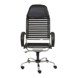 Eurostyle - Bungie Flat Executive High Back Chair-Blk/Chr - Flat bungee cords on back; 11 sets