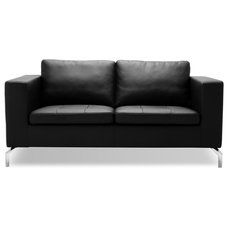 Modern Love Seats Greenwich Black Leather 2 Seat Couch