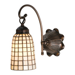 Meyda Tiffany - Meyda Tiffany Arts & Crafts Beige Geometric Transitional Wall Sconce X-34681 - This Cow Lily shaped Sand Beige shade is elegantly suspended from the gracefully curved arm of this one-light Tiffany's Wall Sconce. The shade has a beautiful geometric grid that flows down showing off the different shades of beige from square to square. Hundreds of pieces of stained glass have been hand cut and skillfully assembled by an artisan. The wall mount is hand finished in Mahogany Bronze to set a balance to the warm beige glow.