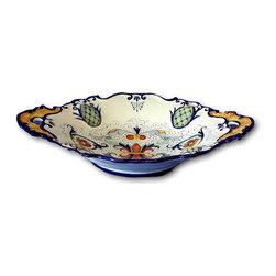 """Artistica - Hand Made in Italy - Vecchia Deruta: Oval Bowl """"Baccellato"""" - Vecchia Deruta Collection: (Old Deruta)"""