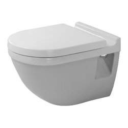 Duravit - Duravit | Starck 3 Wall-Mounted Toilet - Design by Philippe Starck.Made in Germany by Duravit.A part of the Starck 3 Collection. The Starck 3 Wall-Mounted Toilet will add a stylish and modernized look to your bathroom. The wall hung design makes cleaning under and around it a breeze, while its porcelain construction adds durability. Compatible with the Geberit in-wall tank, this toilet adds a luxurious quality while conserving space, making it perfect for bathrooms with limited space. Product Features: