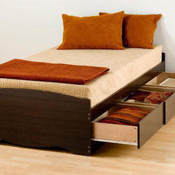 Prepac - Espresso Twin Platform Storage Bed With 3 Drawers - The practical design of this classic furniture Platform Storage Bed combines extra deep drawers for plenty of storage space with a slat support system. The wood slats of this modern classic furniture are positioned lengthwise to distribute body weight evenly and minimize the amount of motion transfer. The three large drawers of this classic home furniture that are positioned below the bed are easy to access and accommodate clothing, or anything you need to store. Linens, blankets and magazines are just a few ideas. This furniture classic is made from composite woods, solid wood slats, metal supports and high quality hardware. Assembly is required and product is shipped flat packed in two cartons for easier handling. Colors available are white, black, maple, cherry and espresso. Dimensions:41w x 18.75h x 76.5d