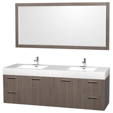 Amare 72 inch Wall Mounted Double Bathroom Vanity Integrated Sinks