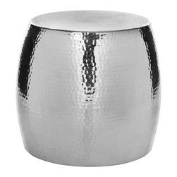 Safavieh - Odin Round Hammered Stool - The Odin round hammered stool's resilient polished aluminum silver sparkle and subtly textured finish create its brilliant persona. But its powerful impact skillfully enhances - not overpowers - traditional or contemporary decor, making it an instant classic