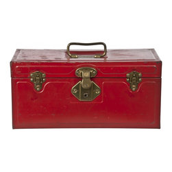 Metal Tool Box - Vintage red tool box made by the Excelsior Company in gold tone hardware and open interior.