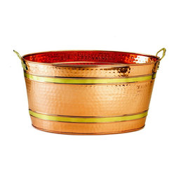 Old Dutch International - Oval Copper Party Tub - 11 Gallon Oval Décor Copper Party Tub. Serve beverages at your next event or party in style!  The large oval tub is perfect for filling with ice and serving cold bottled or canned drinks.  Hammered Copper finish with Brass banding and handles lends an element of class to any event. Non-Tarnish finish.
