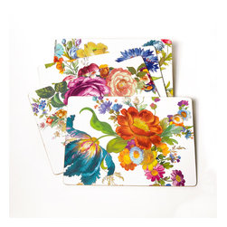 Flower Market Placemats - White - Set of 4 | MacKenzie-Childs - Fanciful, fresh, and almost too pretty to cover with plates—unless they are Flower Market plates, that is. With four different, complementary botanical print patterns, Flower Market Placemats make your tabletop feel like a country garden. Coordinate with Flower Market Coasters. Heat-resistant lacquered surface on hard-board substrate that is backed with natural cork.