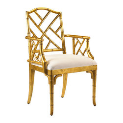 Frontgate - Moselle Arm Chair - Frontgate - Mahogany with antique gold leaf finish. Ivory-colored upholstered seat. Also available as a side chair. Coordinates with other items from our French Heritage Uptown Collection. Transitional, English, and Eastern-inspired interiors get a little more worldly with our Moselle Arm Chair. Crafted of carved wood to resemble bamboo, the fretwork of Chippendale designs is placed on the diagonal, creating a distinct seat where East-meets-West.  .  .  .  .