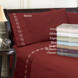 "Grand Luxe - Grand Luxe Egyptian Cotton Sateen 500 Thread Count Swirl Deep Pocket Sheet Set a - These ""Made in USA"" swirl embroidered sheets are made with 100-percent Egyptian cotton sateen for a soft feel. The pillowcases can be purchased as pairs as an option."