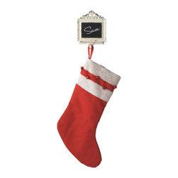 Midwest CBK - Chalkboard Christmas Stocking Holder - Customizable Name Holiday Gift Decoration - Chalkboard Stocking Holder Christmas Decoration