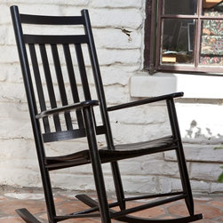 Dixie Seating Co - Dixie Seating Indoor/Outdoor Slat Rocking Chair - Black - 67RTABLK - Shop for Rocking Toys from Hayneedle.com! The Outdoor Slat Rocker is an American classic. Use this rocker on the front porch or deck to while away the hours in comfort. The protective black finish is designed to withstand the elements and complement any decor. Or place this rocker in a nursery to enjoy soothing motion as you rock your child to sleep. This versatile piece is equally at home in the living room where it will provide a timeless familiar piece of Americana. Crafted from durable ash wood right here in the U.S.A. this rocker offers quality you can trust. Its armrests and contoured seat will provide ergonomic comfort as you sit back and enjoy a well-deserved moment of respite. An exclusive rocking chair seat pad designed to fit this rocker is available for added comfort. Dimensions: 26L x 31W x 43H inches. Easy AssemblyThis rocker ships flat with some assembly required. We recommend a preliminary assembly without gluing to be sure you have all pieces in the correct position. All necessary hardware is included. Assembly takes approximately 30 minutes.This product ships next day so you can enjoy it fast. Place your order today! About Dixie SeatingIn business since the early 1900's Dixie Seating Company is a premier manufacturer of solid hardwood ladder back chairs rockers stools and children's furniture. They offer classic comfortable colorful furniture with American-made craftsmanship solid wood construction and affordability. Serving both the residential and commercial markets Dixie is the largest domestic manufacturer of round posted seating products. All of Dixie Seating's products are manufactured from select grade North American Ash hardwood. Their unique construction techniques use no glue but rather a combination of precisely machined components multiple pressure clamping interlocking wood-to-wood joints and a swelled joint construction. They use metal fasteners at