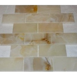 "2"" x 4""Rustic White Polished Mesh-Mounted Onyx Mosaic Tiles - 2"" x 4"" Rustic White Onyx Mesh-Mounted Mosaic Tile is a great way to enhance your decor with a traditional aesthetic touch. This Polished Mosaic Tile is constructed from durable, impervious Onyx material, comes in a smooth, unglazed finish and is suitable for installation on floors, walls and countertops in commercial and residential spaces such as bathrooms and kitchens."