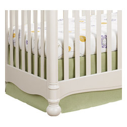 "Liz and Roo - Sweet Pea Linens Crib Skirt - Spring green linen crib skirt with 16"" drop. Shown with our Emma Crib Sheet. Fits standard 52"" x 28"" crib mattress. Made in USA."