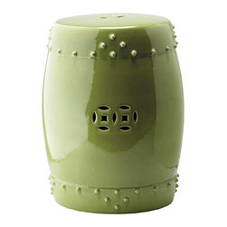 Garden Seat, Lime - This ceramic garden seat is the perfect accent piece for your seating area. I like that it can easily double as a side table as well.