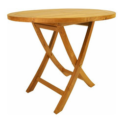 "Anderson Teak - Bahama 35"" Round Bistro Folding Table - This solid teak ''Round Bistro Folding Table'' makes the perfect addition to your patio, garden, backyard or anywhere. Fold it up and carry it away. Just put some chairs and its ready for party!"