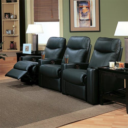 Director's Reclining Theater Seating - The Theater seating consists of 3 Black Leather Recliners and 2 Cup Holders. Easy-to-use Leggett and Platt reclining mechanism and storage wedges with built-in cup holders make these seats more usability.