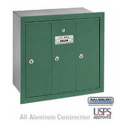 Salsbury Industries - Vertical Mailbox - 3 Doors - Green - Recessed Mounted - USPS Access - Vertical Mailbox - 3 Doors - Green - Recessed Mounted - USPS Access