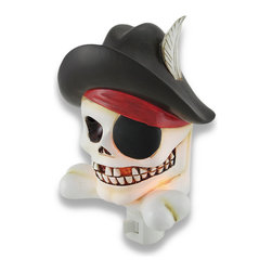 Zeckos - Cool Pirate Skull and Crossbones Childrens Night Light Nite Lite - Aaargh, me mateys! This lovely pirate skull and crossbones night light be the perfect beacon to keep your wee buccaneer calm in the dark of night. Made of cold cast resin, it measures 6 1/2 inches tall, 4 1/4 inches wide, and 2 1/2 inches deep. It has a 360 degree swivel plug to accommodate any outlet, and it uses a 7 watt (max) type C night light style bulb (included). The light has an on/off switch on the front, and is recommended for children ages 6 and up.