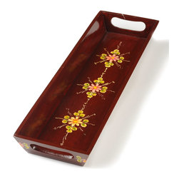Utsav Serving Tray - This handsome decorative serving tray is unusual in its deep mahogany finish which shows the grain of the wood while maintaining the glossy shine of traditional Sawantwadi lacquerware. This elegant hand painted serving tray features a trio of hand-painted rosettes which provide a contrasting burst of exuberant color- its Hindi name means efestivale. The perfect handmade gift idea. Color; Brown