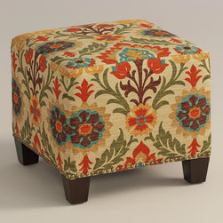 """World Market - Adobe Santa Maria McKenzie Ottoman - Cozy up with our custom-made Adobe Santa Maria McKenzie Ottoman, handcrafted in the U.S.A. with cotton upholstery and nail head trim. Showcasing a geometric floral motif in earthy hues, this World Market exclusive ottoman makes a bold statement. Pair two ottomans for a dramatic """"bench"""" at the foot of the bed. Shop our coordinating bed or headboard in the same custom fabric for a pulled together look."""