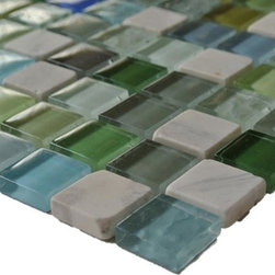 GlassTileStore - Sample-Koi Pond Glass and Stone Tile Sample - Sample Koi Pond Glass and Stone Tile Sample   Samples are intended for color comparison purposes, not installation purposes.    -Glass Tiles -