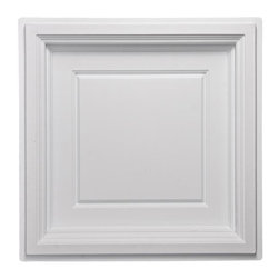 "Madison Ceiling Tile - White - Perfect for both commercial and residential applications, these tiles are made from thick .03"" vinyl plastic. Their lightweight yet durable construction make these tiles easy to install. Waterproof, these tiles are washable and won't stain due to humidity or mildew. A perfect choice for anyone wanting to add that designer touch at an amazing price."