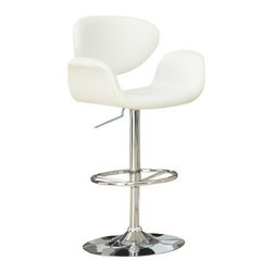 Monarch Specialties - Monarch Specialties 2319 Hydraulic Lift Barstool in White and Chrome - The contemporary and unique design of these white bar stools are no doubt chic, thanks to sleek leather-look upholstery. The curved armrests and exquisitely cushioned seats are designed for your comfort. The sturdy frame and convenient fully circular foot rest are finished in an ever so fashionable chromed metal. A 360 degree swivel mechanism and easy-to-use hydraulic lift system will take you to new heights!