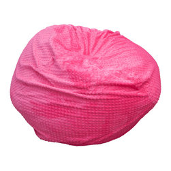 Best Selling Home Decor - Eloise Pink Minky Fabric Bean Bag - Comfortable and durable, this bean bag ottoman is filled with long-lasting polystyrene beans. They are perfect for a bedroom, home theater rooms, family and game rooms. Color: Various; Materials: Microfiber suede, polystyrene beans; Weight: 5 pounds; Diameter: 22 inches; Fill: Polystyrene beans; Care Instructions: Spot Clean; Dimensions: 34 inches high x 37 inches wide x 38 inches deep; Made in the US; Kid friendly