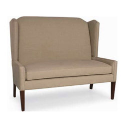 Pierce Settee - Banquette - This highbacked settee is the sophisticated way to provide seating on one side of the dining table. Available in a plethora of fabrics.