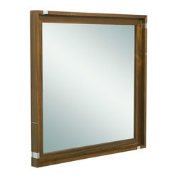 Vir Stil by Laura Kirar Mirror, Black Walnut - The Vir Stil by Laura Kirar Mirror marries compelling design detail with beautiful modern forms. It features a walnut frame, metal accents, and wall-mount installation that balance form with quiet, efficient functionality.