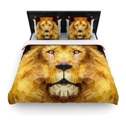 "Kess InHouse - Ancello ""Lion King"" Yellow Brown Cotton Duvet Cover (King, 104"" x 88"") - Rest in comfort among this artistically inclined cotton blend duvet cover. This duvet cover is as light as a feather! You will be sure to be the envy of all of your guests with this aesthetically pleasing duvet. We highly recommend washing this as many times as you like as this material will not fade or lose comfort. Cotton blended, this duvet cover is not only beautiful and artistic but can be used year round with a duvet insert! Add our cotton shams to make your bed complete and looking stylish and artistic!"