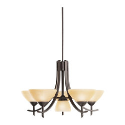 """KICHLER - KICHLER Olympia Transitional Chandelier X-ZO6761 - The Olympia Collection brings a modern twist on the classic aesthetic to create a new form the likes of which has not been seen before. The curvilinear, flowing arms of these chandeliers, pendants, and wall sconces create a clean, contemporary profile for your home. The Olde Bronze finish combined with Sunset Marble glass diffusers and shades present a natural color palate capable of matching any d&#233:cor. This 27"""" diameter, 17"""" high, 5-light Olympia chandelier is a wonderful choice for the homeowner looking for a fashionable, yet functional design. It uses 60-watt (max.) bulbs that, when combined with the satin-etched white glass diffusers, create soft, yet practical light for any room. The center of the chandelier employs one down light that uses a 100-watt (max.) G-type bulb and comes with a 3-way turn switch.  This fixture comes with (2) 6 inches and (2) 12 inches downrods."""