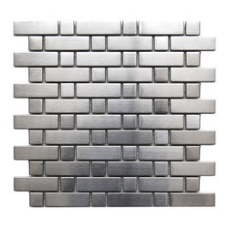 Eden Mosaic Tile - Brick and Square Pattern Stainless Steel Mosaic Tile, Sample - This wonderful pattern that features both rectangular bricks and small squares is a uniquely modern design. This tile is ideal for stainless steel kitchen backsplashes, accent walls, bathroom walls, and bathroom back splashes. The tiles in this sheet are mounted on a nylon mesh which allows for an easy installation. Imported.