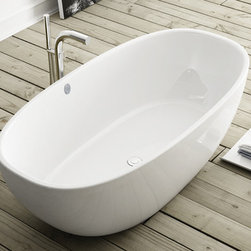 Barcelona Soaker tub - Contact us for current pricing. Contemporary soaker tub made from Englishcast. One piece casting with easy clean high gloss finish. Exterior can be painted, faux finished or stenciled. 25-year warranty.